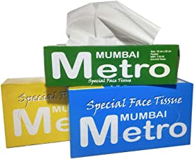 Mumbai Metro Special Face Tissue, 200 Sheets, 100 Pulls, 2Ply - Pack of 3