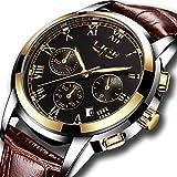 Luxus Business Quarz Uhr mit Chronograph Herren Sport Uhren wasserdicht Armbanduhr Leder Band Fashion Casual Herren Armbanduhr Analog