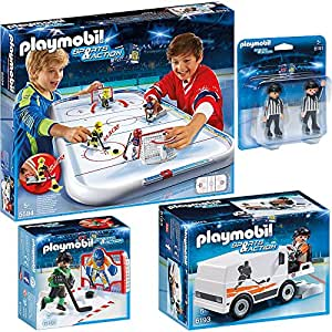 PLAYMOBIL® Sports & Action hockey sur glace set en 4 parties 5594 6191 6192 6193 hockey sur glace arène + arbitre + goal training + glaces machine