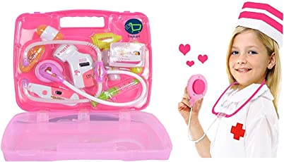 Toykart Doctor Set Pretend Play Toy with Light Sound Effects, Pink