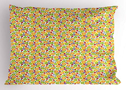 HFYZT Fruits Pillow Sham, Strawberries with Oranges and Cherries Fresh Fruits Pattern Colorful Sweets Design, Decorative Standard King Size Printed Kissenbezug Pillowcase, 18 X 18 Inches, Multicolor -