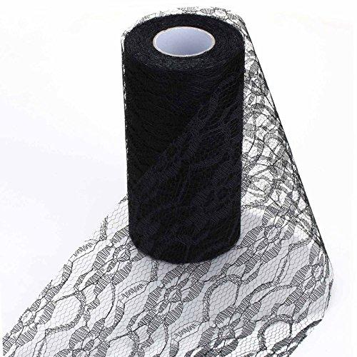Vlovelife - Rouleau de dentelle en polyester, Blanc, 15 cm x 22 m, pour la confection de jupe, tutu, chemin de table, décor de fête, de mariage