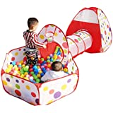 Toys Treasure Portable Kids 3-in-1 Colorful Dotted Tunnel Playhouse Ball Pool Ball Pit Tent Summer Indoor Outdoor Play Fun To