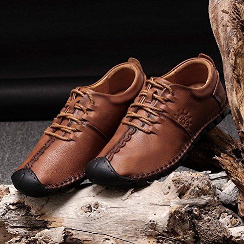 Hommes Casual Hommes chaussures de sport respirant chaussures en cuir confortables chaussures mocassins plats ( Color : Khaki-40 ) Brown-40
