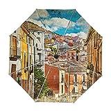 ALAZA Bunte Spanien Straßen und Gebäude Gemälde Regenschirm Reise Auto Öffnen Schließen UV-Schutz-windundurchlässiges Leichte Regenschirm