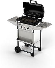 Campingaz Expert Deluxe Barbecue Gas con Pietre Laviche, Grill Barbecue Compatto a Gas con 2 Bruciatori, Potenza 7 kW, Cavo in Acciaio Cromato, 2 Ripiani Laterali