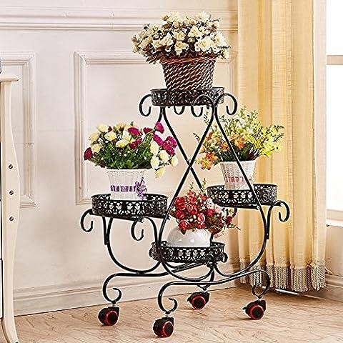 Porte-fleurs, étagère à fleurs, étagères, support de fleursTie - Style Roue Flower Stand Floor - Style Cadre De Lit De Fleurs Salon Balcon Étagère (Couleur: Bronze)
