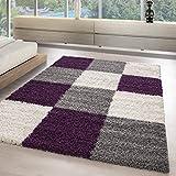 Modern Designer Shaggy Teppiche in Kariert Form für Wohnzimmer, Gästezimmer. Die Teppiche Sind mit 3 cm Florhöhe und OEKOTEX Zertifiziert, Farbe:Lila, Maße:160x230 cm