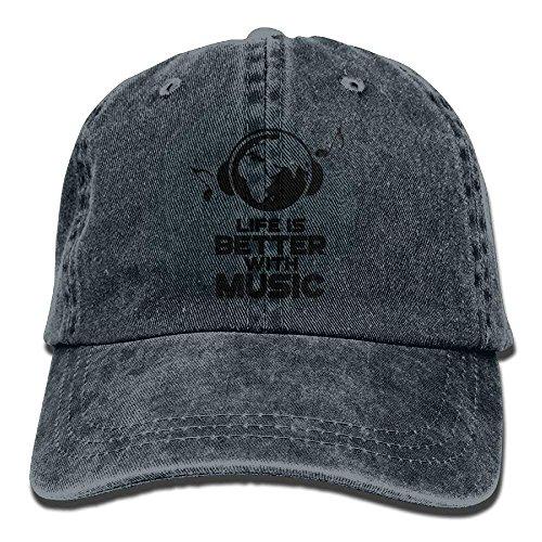 0c25754b839 Aoliaoyudonggha Life is Better with Music Denim Hat Adjustable Womens  Baseball Cap