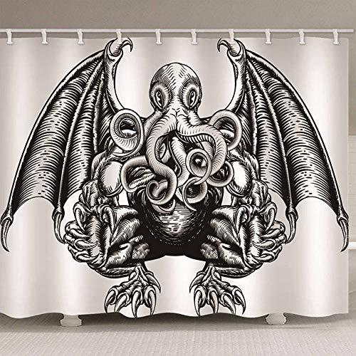 Badvorhang 3D Gedruckt Monster Schwarzweiß Polyester Waschbar Ungiftig Wasserdicht Dusche Geeignet Haken Enthalten, 180 (B) X 180 (H) cm