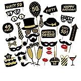 Veewon 50º Fiesta de cumpleaños Foto Cabina Accesorios Kit divertido unisex de 36pcs DIY conveniente para su o el suyo 50o Apoyo de Photobooth de la celebración del cumpleaños