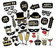 Idea Regalo - Veewon 50 ° compleanno della foto del partito della foto props unisex divertente 36pcs kit DIY adatto per la sua o la sua celebrazione 50 compleanno Cabina fotografica Puntello