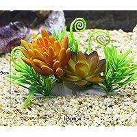 BAOLIJIN 2 en 1 Ornamento de Plantas suculentas Surtidas Artificiales del Acuario para la decoración del Tanque de Pescados (Amarillo) Fish Tank Ornament