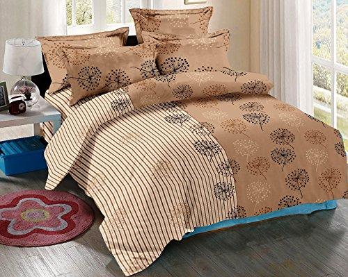 Trance Home Linen 100% Cotton Multi-Coloured 200 TC Printed Queen Double Bedsheet with 2 pillow covers