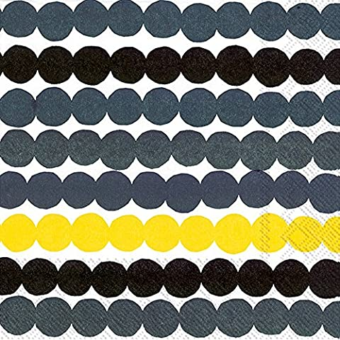 RÄSYMATTO yellow big dots Marimekko Luncheon Paper Table Napkins 20 in a pack 33cm square