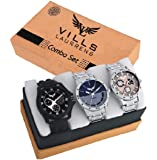 VILLS LAURRENS Analogue Men's Watch (Multicolor Dial Silver Colored Strap) (Pack of 3)