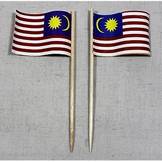 Party-Picker Flagge Malaysia Papierfähnchen in Profiqualität 50 Stück Beutel Offsetdruck Riesenauswahl aus eigener Herstellung