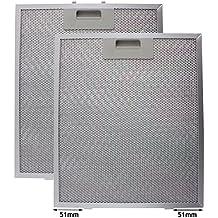 SPARES2GO Universal Campana Antigrasa Filtro (Plata, 320 x 260mm) (Paquete de 2)