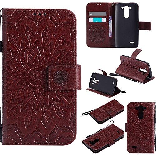 Handy Zubehör Hüllen, LG G3 Mini Fall, Sun Flower Druck Design PU Leder Flip Wallet Lanyard Schutzhülle mit Card Slot / Stand für LG G3 Vigor / G3 Mini / G3 Beat / G3s D725 D722 ( Farbe : Braun ) - Fall Lg Vigor 3