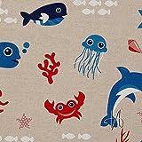 MIRABLAU DESIGN Stoffverkauf Baumwolle Canvas Kraken und