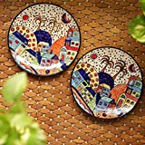 ExclusiveLane 'The Hut Couple' Hand-Painted Ceramic Dinner Plates (10 Inch, Set Of 2) - Ceramic Plates Set For Dinner Rice Plate For Serving Side Plates Dessert Quarter Plate Full Plates Dinner Set Dinner Plates Set Of 2 Snacks Serving Breakfast Plates Ta