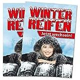 2 x Winterreifen wechseln Poster / Plakat DIN A1 Werbung für Reifenhändler