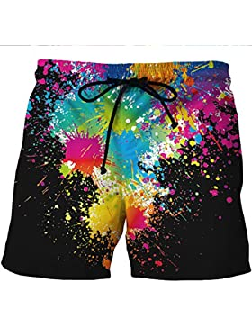Hombres Pantalones cortos de playa de secado rápido Pantalones cortos de pintura en color de impresión 3D Hombres...