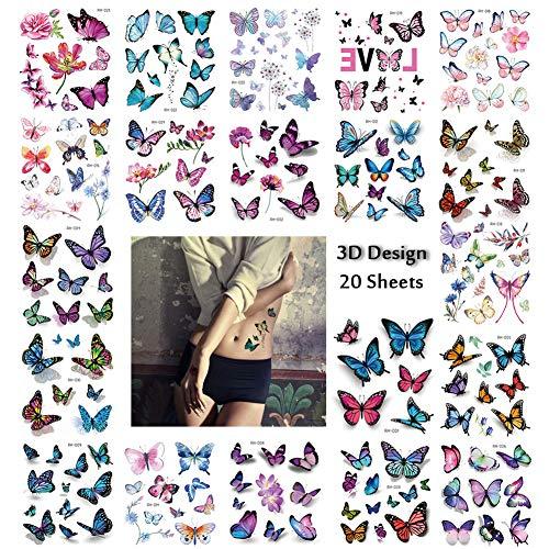 3D Schmetterling Temporäre Tattoos, 170 x Sexy Damen Blumen Klebe Tattoo Wasserdichter Festival Körperkunst Aufkleber Tätowieren für Frau Sexy Deko Bilden