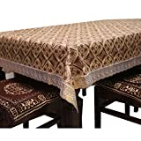 #8: Kuber Industries™ PVC Dining Table Cover 6 Seater Golden Lace 60*90 Inches (Exclusive Design) KI16524