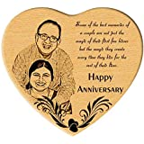 Incredible Gifts India Engraved Photo in Beechwood Heart (Wooden and Beige, 5.5 x 6-inches)