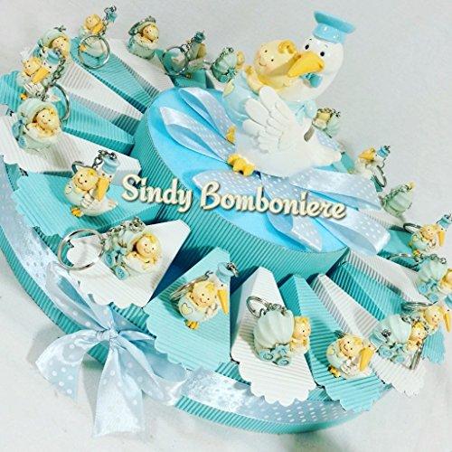 Torta bomboniera nascita battesimo bimbo cicogna portachiavi e carrozzina (torta 1 piano 20 fette)