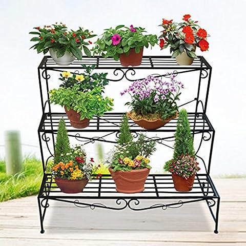 Helen Échelle de fer Fleur Stand Balcon Style de plancher Salon Ensemble Étagères de plantes 3 couches (Blanc) ( Couleur : Noir )
