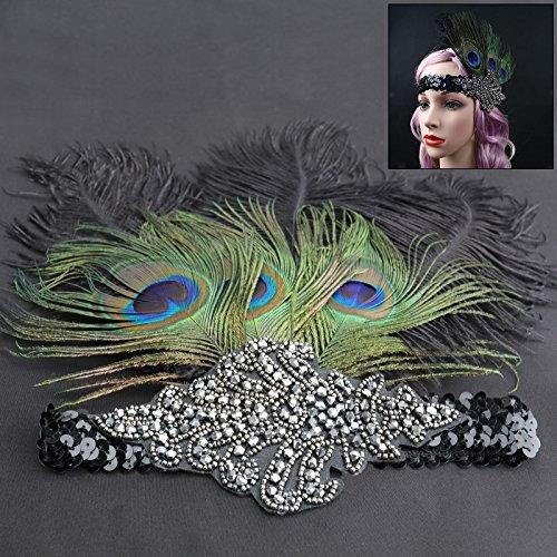 (Federstirnband Feder Haarband Gatsby Damen Kopfband Kopfschmuck Kostüm Schwarz)