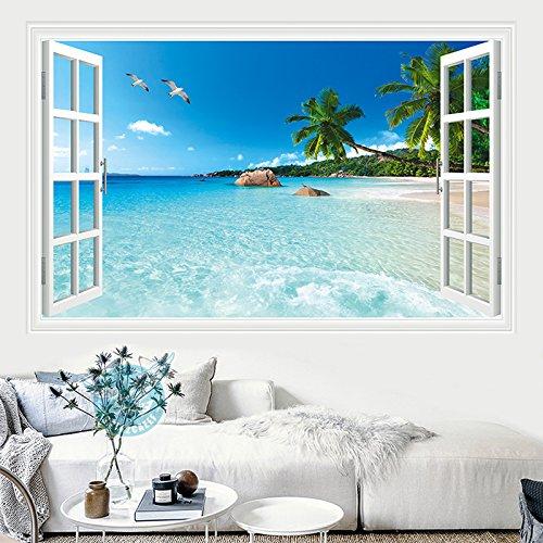 SISANLAI 3D Wall-Emulation Strand Meer Wand Plakate Der Bett Wohnzimmer Schlafzimmer Selbstklebende Tapete Gemälde, 160 Cmx 100 Cm, falsche - Peel Grenze