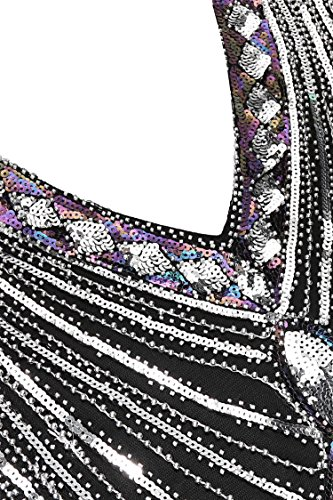 AIMADO Damen Gatsby 1920er Flapper Kleid, Diamant Pailletten Verschönert Schwarz3
