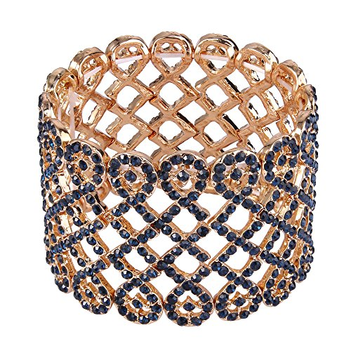EVER FAITH Damen Armband österreichischer Kristall Art Deco Love Knot breites Braut-Stretcharmband Armreif Armkette Dunkelblau Gold-Ton