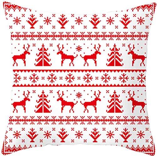 Huacat Weihnachten Kissen Decken Kissenbezug Sofa Taille Wurfkissen Wohnkultur Weihnachtskissenbezug Versteckter Reißverschluss Weihnachts Druck Flachs Abnehmbarer Kissenbezug