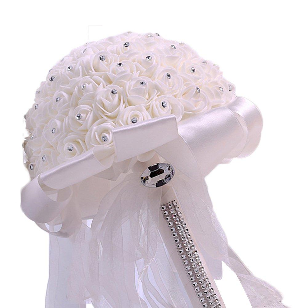 fablcrew espuma artificial ramo de novia para novia Rose flores para damas de honor boda Decor, blanco, 26 x 22.5 cm