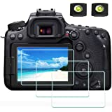 ULBTER 90D skärmskydd för Canon EOS 90D DSLR-kamera och varmskoskydd, 0,3 mm 9H hårdhet ultraklart härdat glas skärmskydd, an