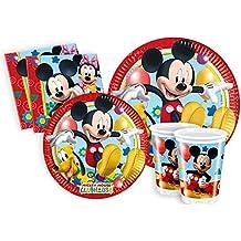 Ciao Y2496 - Set de Fiesta para mesa, de Disney Mickey Mouse Club House Para 8 Personas (44 Piezas: 8 Platos Grandes, 8 Platos Medianos, 8 vasos, 20 Servilletas)
