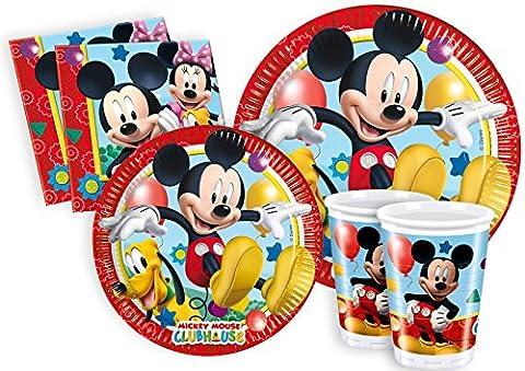 Ciao Lot de vaisselle de fête La Maison de Mickey pour 8personnes (44pièces: 8grandes assiettes, 8assiettes moyennes, 8verres, 20serviettes) Y2496