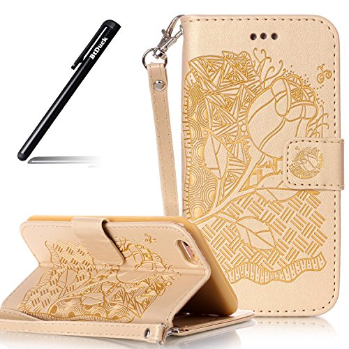 Cover per iPhone 6S 4.7,BtDuck Ultra Sottile PU Pelle Borsa e Portafoglio Tasca Creativo Modello Libro Stand Case Cover Morbido Silicon Gel Back Case Bumper Cover Custodia in Premium Flip Cover per iP #B Oro