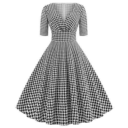 Zarupeng V-Ausschnitt Hahnentritt Vintage-Kleid, Slim Kurzarm Plaid Ballkleid Cocktailkleid Elegant Swing Kleid Abendkleid