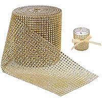 BENECREAT 9.14m Diamante Espumoso espumoso Rollo de Cinta de Malla de Diamantes para Manualidades, Decoraciones para Eventos, Pastel de Bodas, Cumpleanos, 12cm, 24 Filas (Oro)