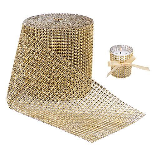 BENECREAT 10 Yards Diamant funkelnden Strass Mesh Ribbon Roll fur Kunsthandwerk, Event Dekorationen, Hochzeitstorte, Geburtstage, 4,75