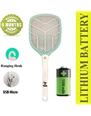 Pick Ur Needs™ Rocklight Lithium Battery High Range Mosquito Racket/Bat with Torch with Wire Charging with 6 Month Battery Backup Warranty (Multicolor) (Multi, New01)