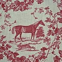 Tessuto di lino - il cavallo nobile (rosso bordeaux e bianco crema) - in stile Toile de Jouy | 100% puro lino | altezza: 140 cm (1 metro) - Tessuto Cavallo