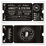 50 x Hochzeit Einladungen Einladungskarten Schwarz-Weiß Ticket Eintritt schwarze Version