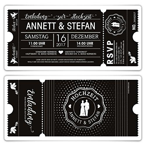 20 x Hochzeit Einladungen Einladungskarten Schwarz-Weiß Ticket Eintritt schwarze Version