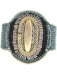 Marc Labat - 14E27 - Indi-Chic - Bracelet Manchette Femme - Métal doré - Verre - Perle - 18 cm